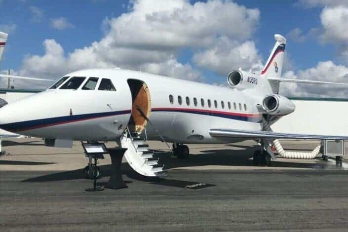 Private jet park in a runway