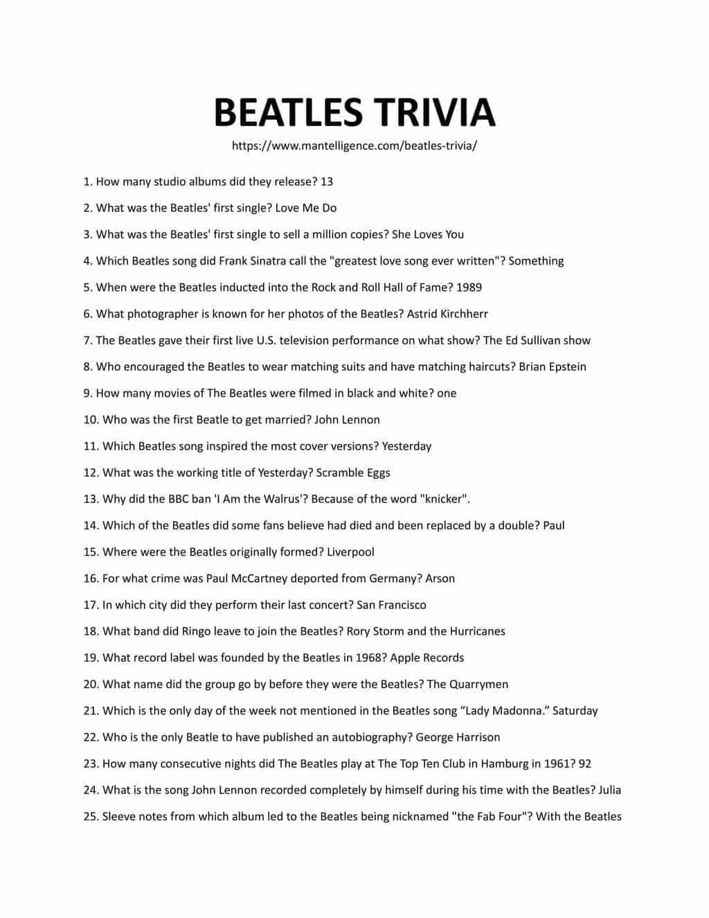Downloadable and printable list of trivia