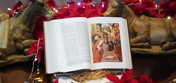 Bible seated on a Christmas theme designed shelf.