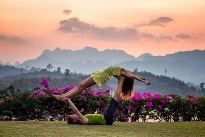 Couple doing yoga together