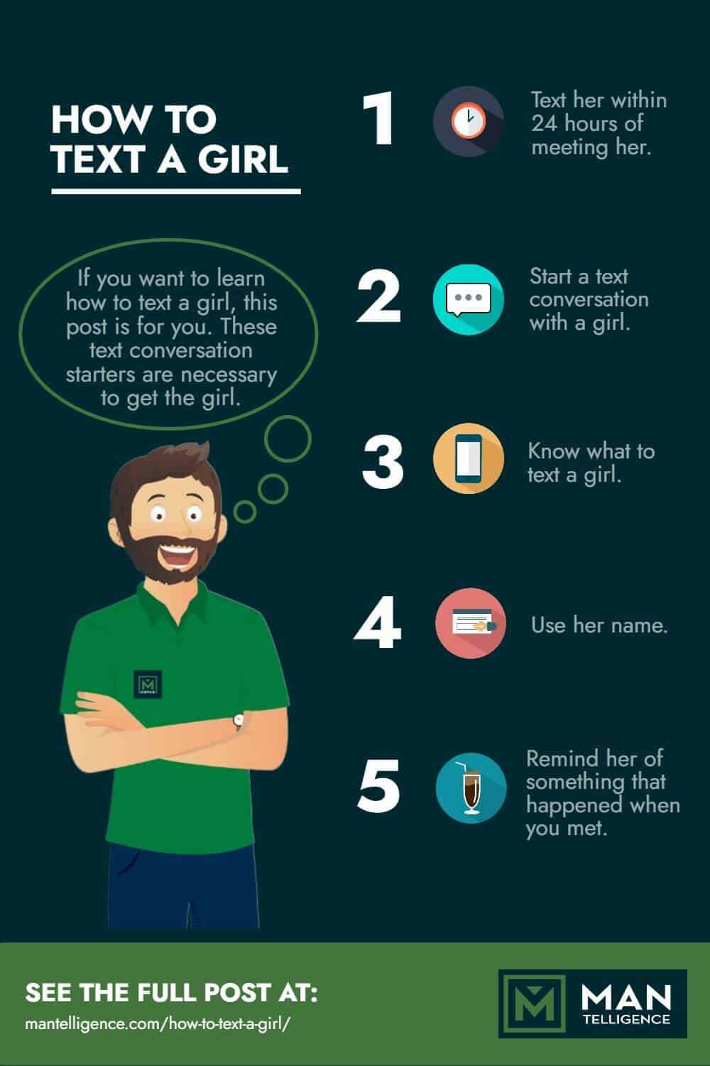 Infographic on how to text a girl