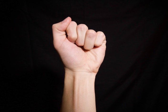 A closed fist hand