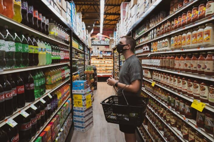 Man shopping in a grocery store