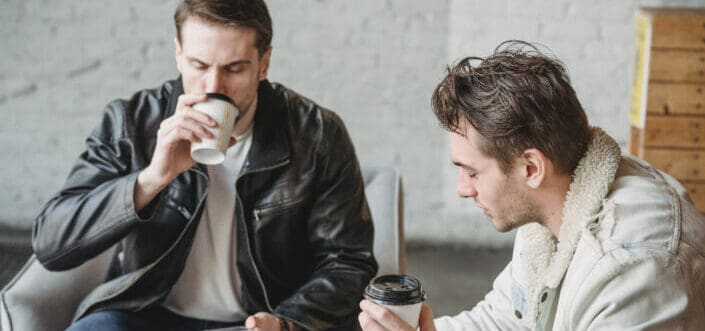 two guys while on a coffee break