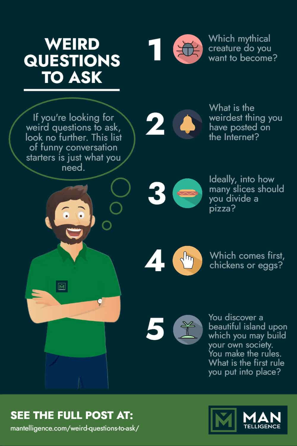 Infographic facts about weird questions to ask