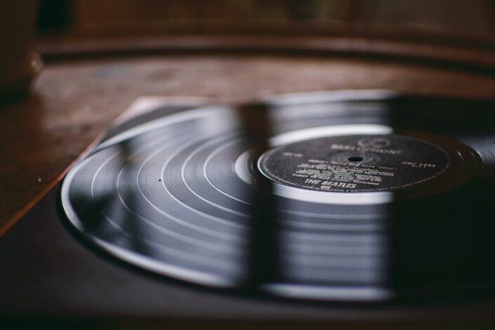 vinyl record in player