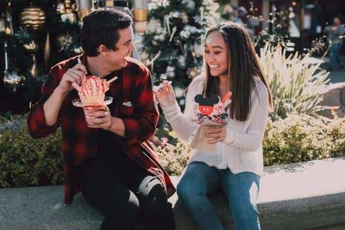 Couple happily eating ice cream