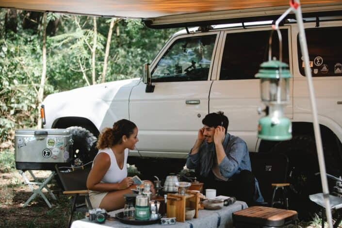 Couple resting after road trip