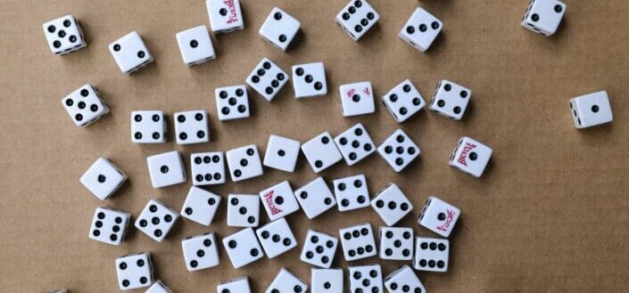 Pieces of white dice