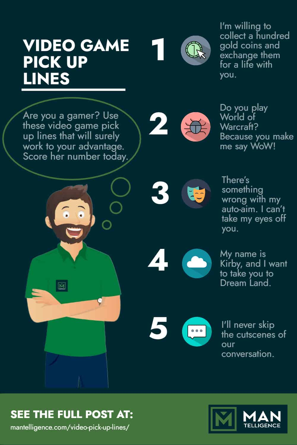 video game pick up lines - infographic
