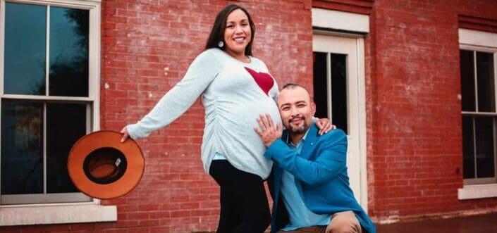 couple feeling pregnancy happily